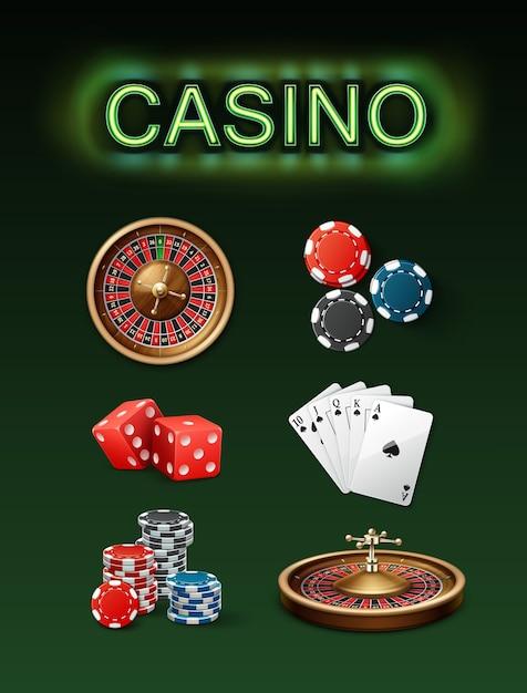 Conjunto de vetores de atributos de jogo de casino, roda de roleta de pôquer, fichas azuis, pretas, dados vermelhos, royal straight flush e vista lateral superior de letreiro de néon isolada sobre fundo verde Vetor grátis