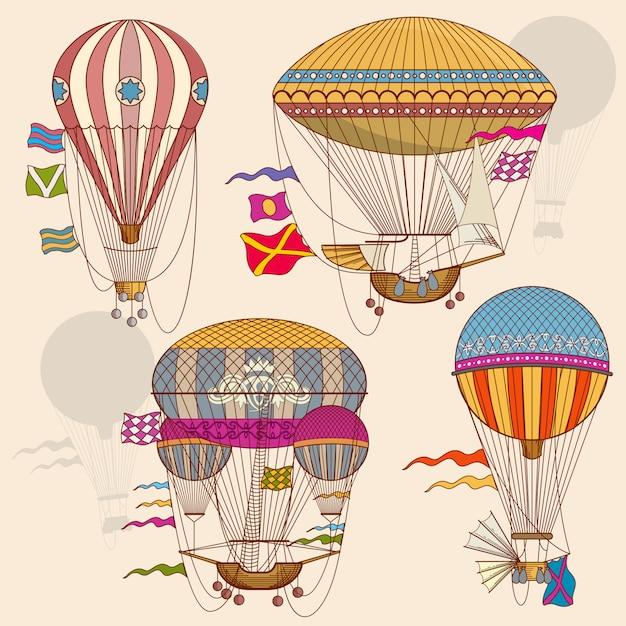 Conjunto de vetores de balão de ar vintage Vetor Premium