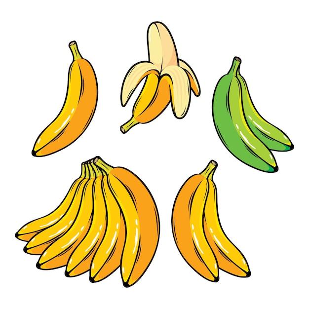 Conjunto de vetores de bananas amarelas dos desenhos animados overripe banana banana única banana descascada Vetor Premium