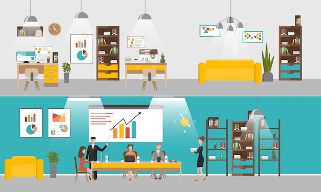 Conjunto de vetores de banners interiores de escritório em design de estilo simples. pessoas de negócios e trabalhadores de escritório. Vetor Premium