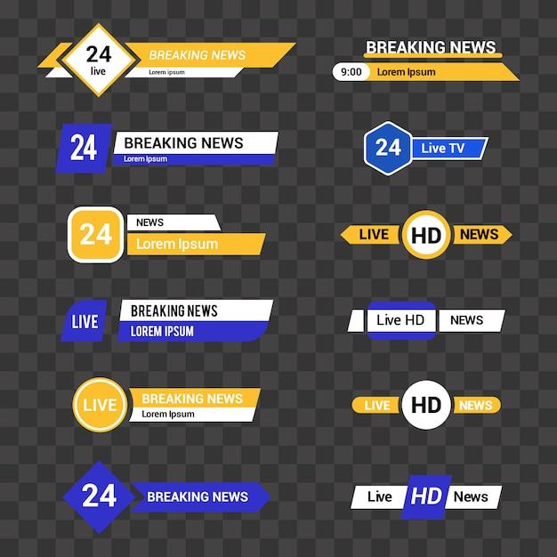 Conjunto de vetores de barras de tv para canais de notícias e esportes Vetor Premium
