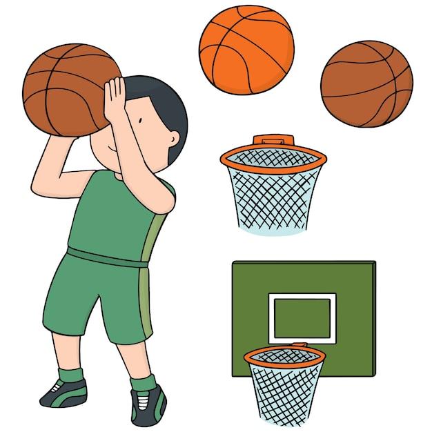 Conjunto de vetores de bola de basquete, aro e jogador de basquete Vetor Premium