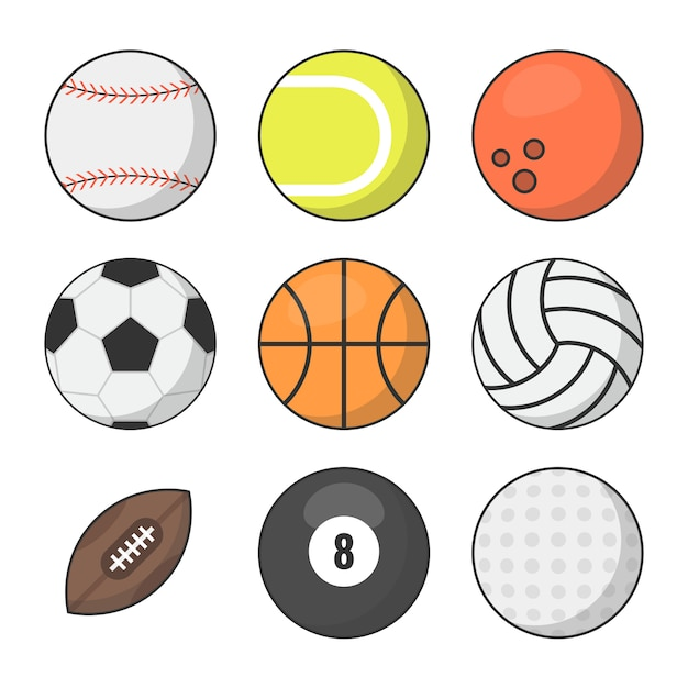 Conjunto de vetores de bolas de esportes Vetor Premium