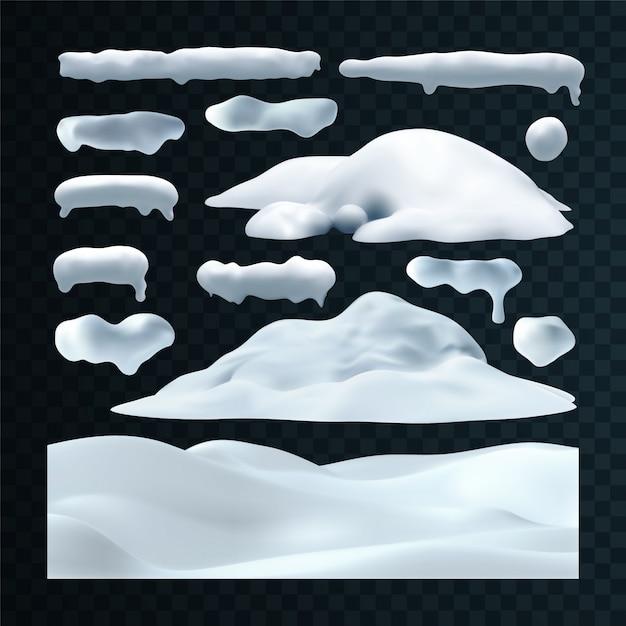 Conjunto de vetores de bonés de neve, pingentes, bolas de neve e monte de neve isolado em fundo transparente. Vetor Premium