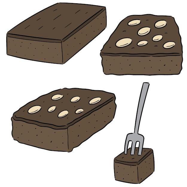 Conjunto de vetores de brownies Vetor Premium