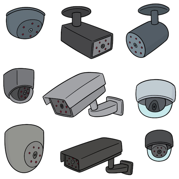 Conjunto de vetores de câmera de segurança Vetor Premium