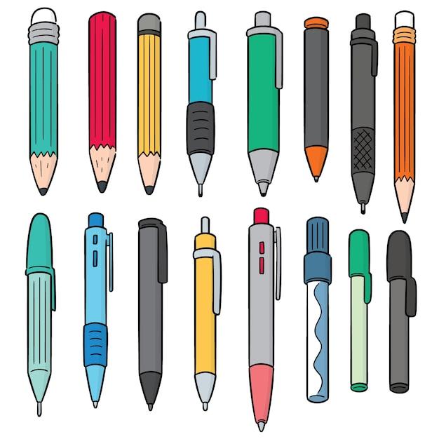Conjunto de vetores de caneta e lápis Vetor Premium