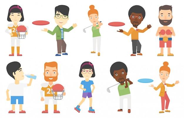 Conjunto de vetores de caracteres do esporte. Vetor Premium