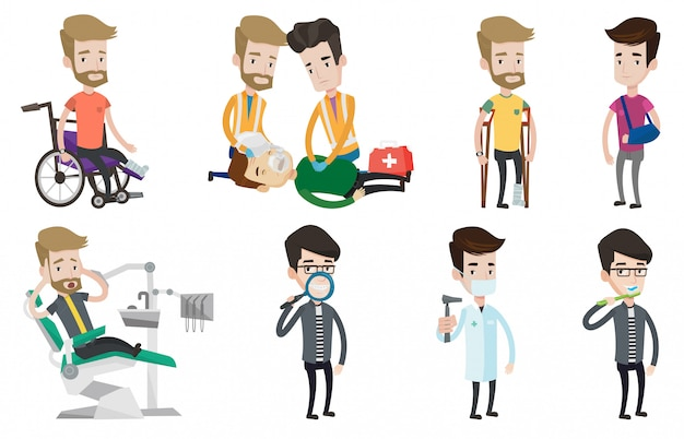 Conjunto de vetores de caracteres médico e pacientes. Vetor Premium