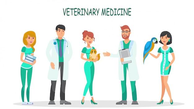 Conjunto de vetores de caracteres planas de medicina veterinária Vetor Premium