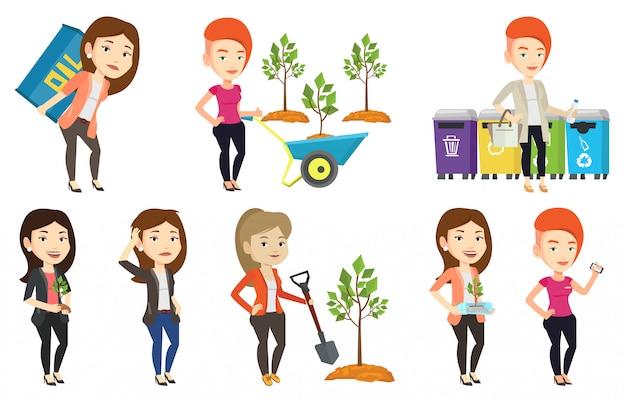 Conjunto de vetores de caracteres sobre questões de ecologia. Vetor Premium