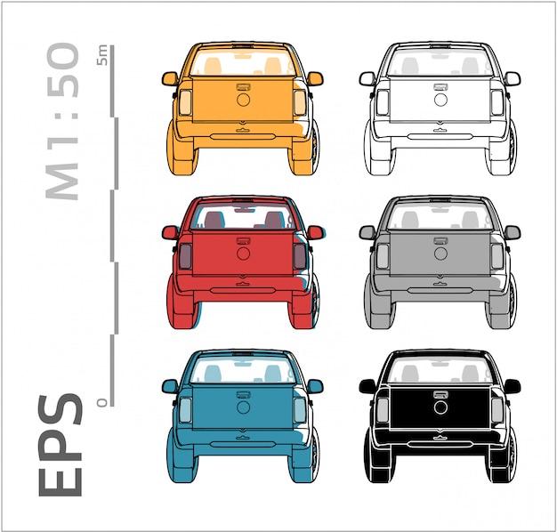 Conjunto De Vetores De Carro Para Desenho Vistas De Tras Vetor