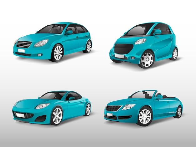 Conjunto de vetores de carros azuis Vetor grátis