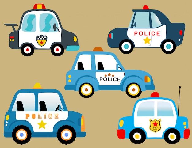 Conjunto de vetores de carros de polícia Vetor Premium