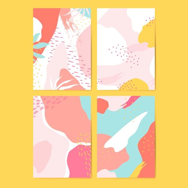 Conjunto de vetores de cartões coloridos estilo memphis Vetor grátis