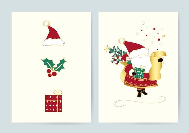 Conjunto de vetores de cartões de natal Vetor grátis