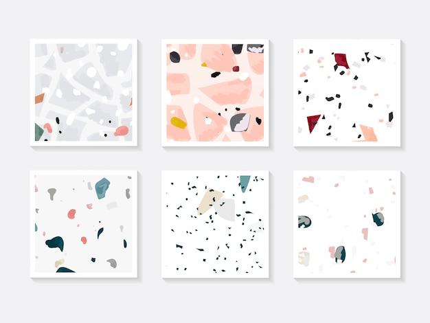 Conjunto de vetores de cartões de padrão sem emenda colorido terrazzo Vetor grátis