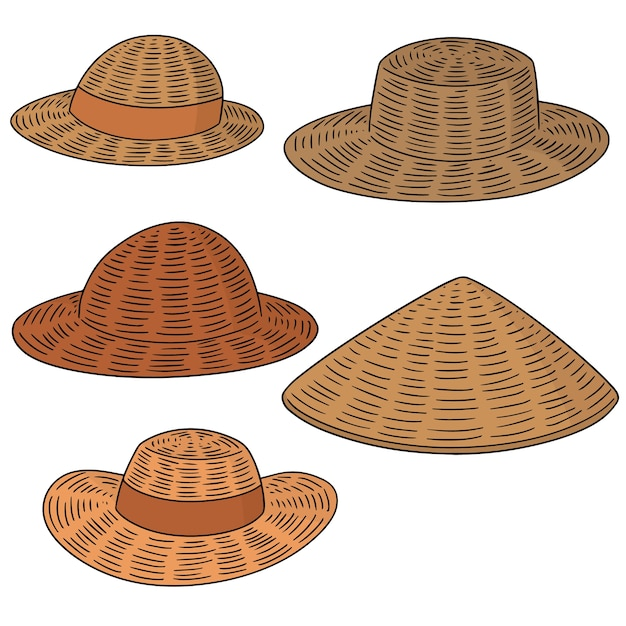 925515da9267e Conjunto de vetores de chapéu de palha