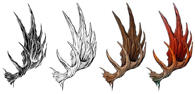 Conjunto de vetores de chifres ou galhadas de alce grande dos desenhos animados Vetor Premium
