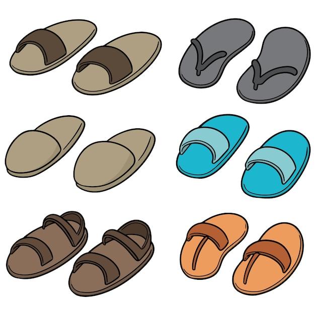 Conjunto de vetores de chinelos Vetor Premium