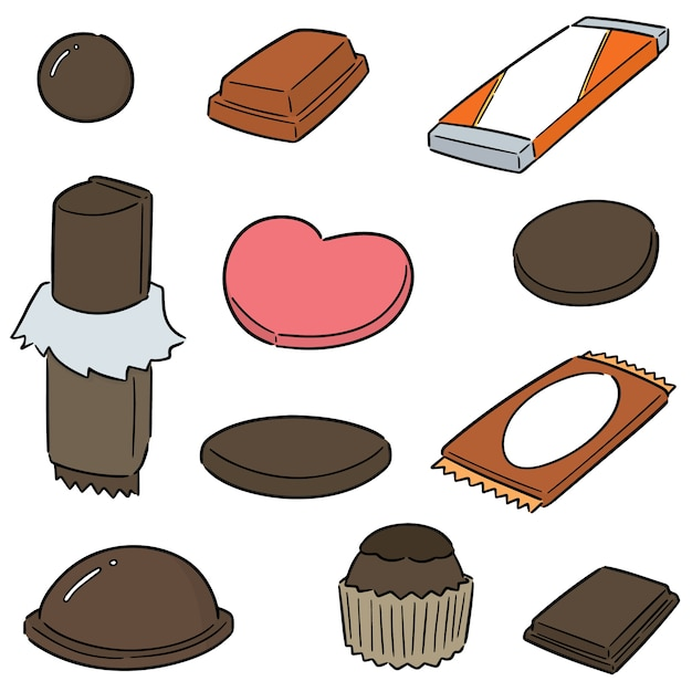 Conjunto de vetores de chocolate Vetor Premium