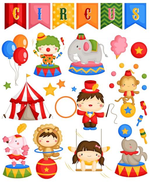 Conjunto de vetores de circo de carnaval Vetor Premium