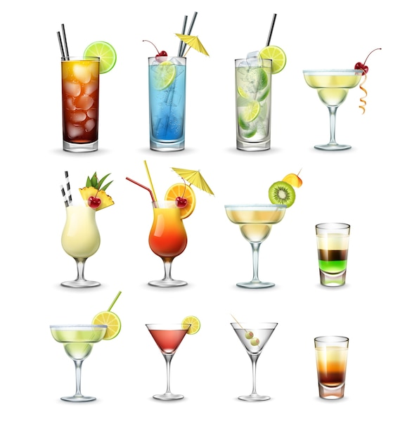 Conjunto de vetores de cocktails e tiros populares cuba libre, lagoa azul, mojito, margarita, pina colada, tequila sunrise, cosmopolita, martini isolado no fundo branco Vetor grátis