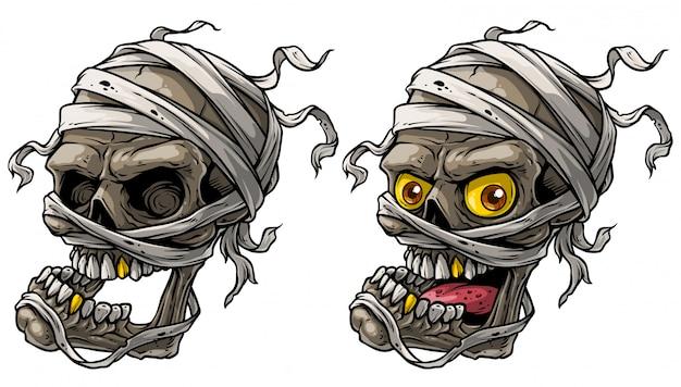 Conjunto de vetores de crânios de múmia assustador realista dos desenhos animados Vetor Premium
