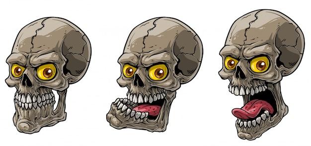 Conjunto de vetores de crânios humanos assustador realista dos desenhos animados Vetor Premium