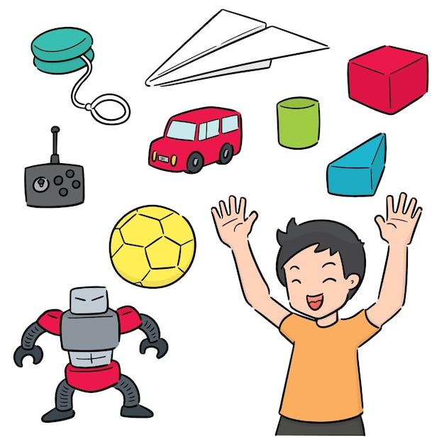 Conjunto de vetores de criança e brinquedo Vetor Premium