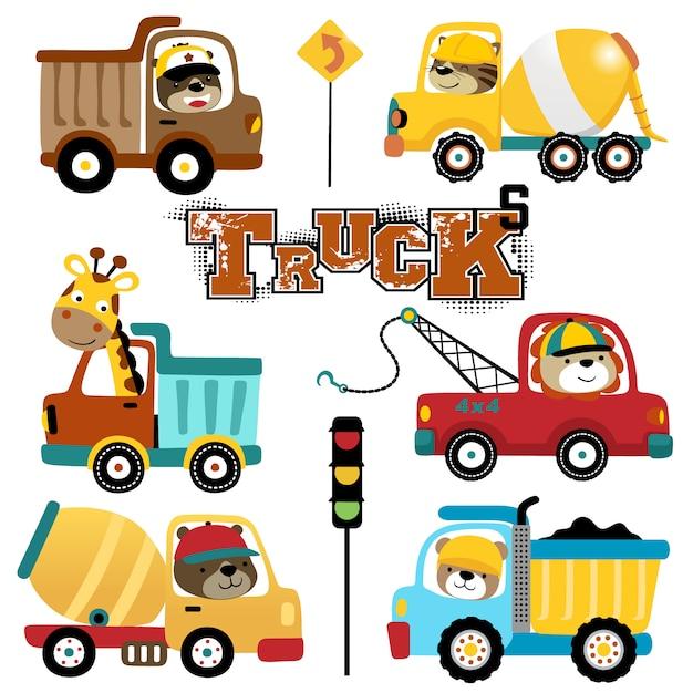 Conjunto de vetores de desenhos animados de caminhões com motoristas engraçados Vetor Premium
