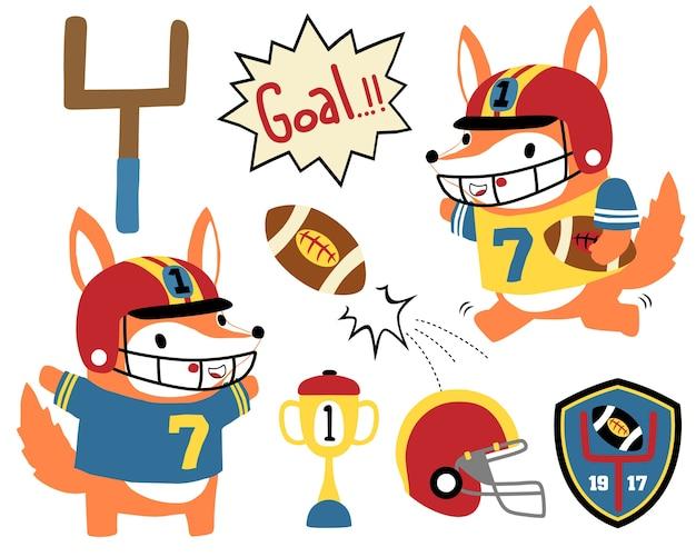 Conjunto de vetores de desenhos animados de jogador de rugby engraçado Vetor Premium