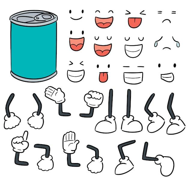 Conjunto de vetores de desenhos animados de lata Vetor Premium