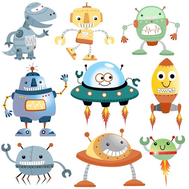 Conjunto de vetores de desenhos animados de robôs engraçados Vetor Premium
