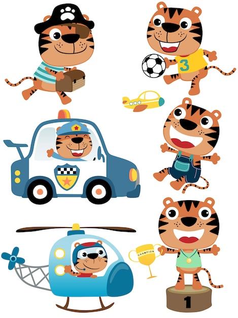 Conjunto de vetores de desenhos animados de tigre com seus brinquedos Vetor Premium