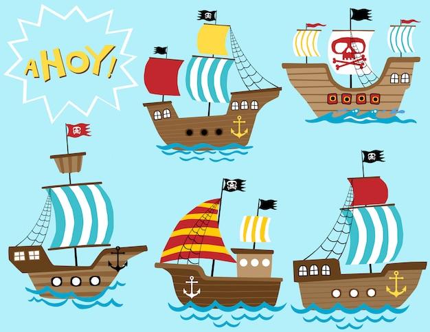 Conjunto de vetores de desenhos animados de veleiro Vetor Premium