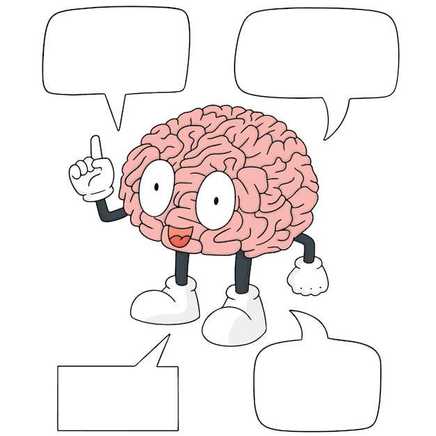 Conjunto de vetores de desenhos animados do cérebro Vetor Premium