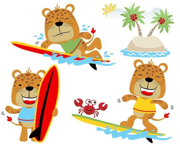 Conjunto de vetores de desenhos animados engraçados tigres Vetor Premium