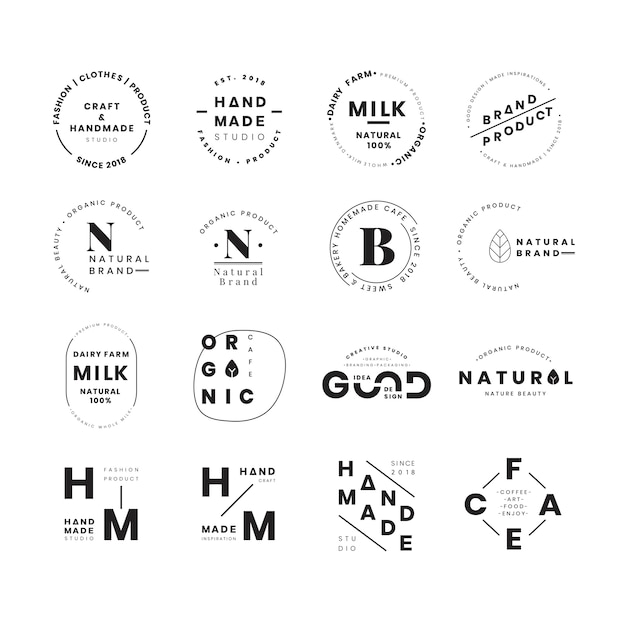 Conjunto de vetores de design de distintivo de logotipo Vetor grátis