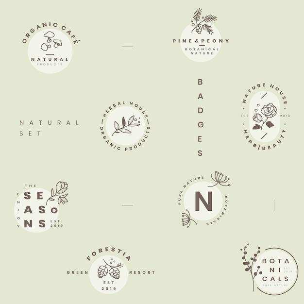 Conjunto de vetores de design de logotipo botânico Vetor grátis