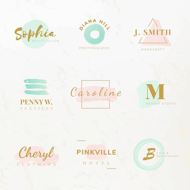 Conjunto de vetores de design de logotipo de beleza e moda Vetor grátis