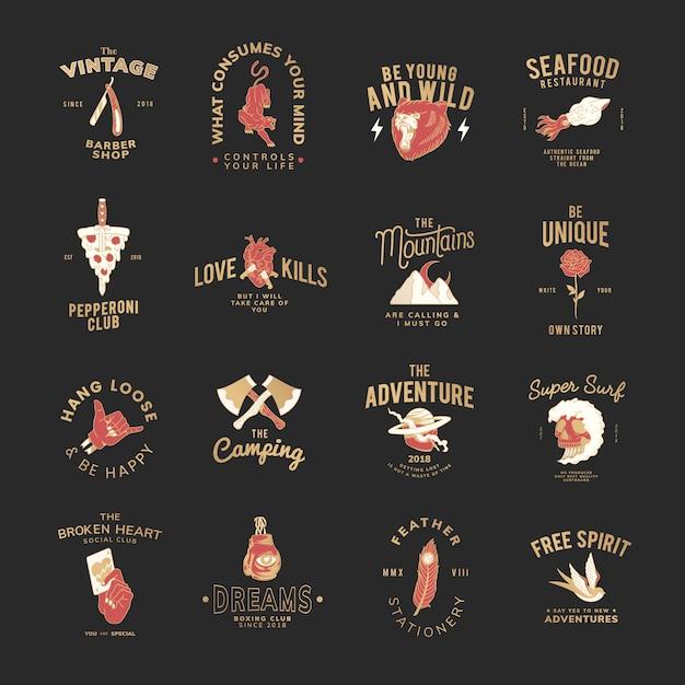 Conjunto de vetores de design de logotipo de comida Vetor grátis