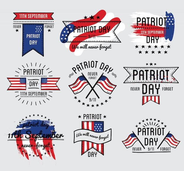 Conjunto de vetores de dia do patriota. 11 de setembro. 911. ilustração vetorial. Vetor Premium