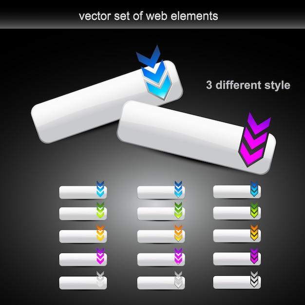 Conjunto de vetores de diferentes botões de estilo web Vetor grátis