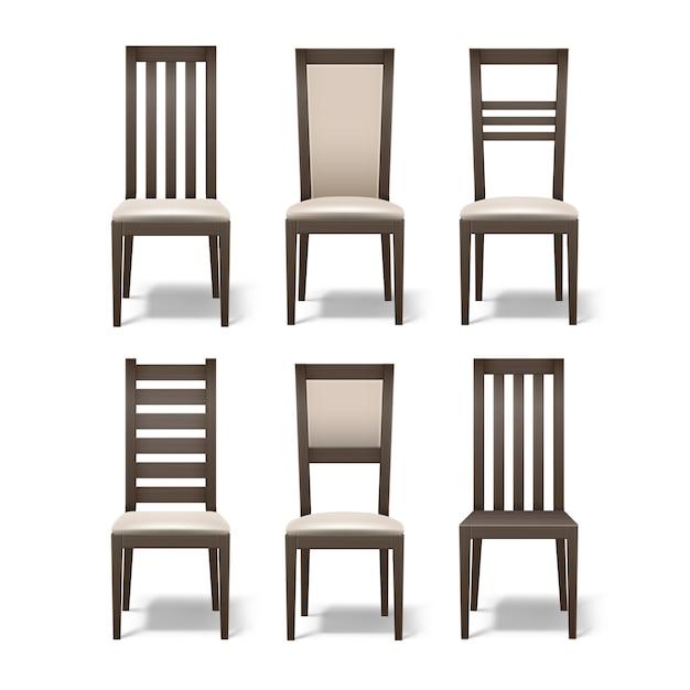 Conjunto de vetores de diferentes cadeiras de madeira marrons com estofamento bege macio, isolado no fundo branco Vetor grátis