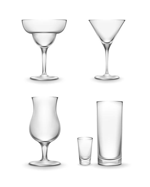Conjunto de vetores de diferentes copos de coquetel vazios, isolado no fundo branco Vetor grátis