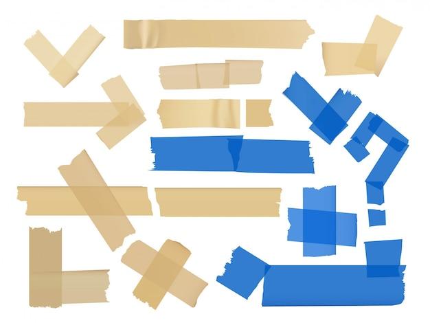 Conjunto de vetores de diferentes fragmentos em fitas adesivas isoladas no branco Vetor Premium