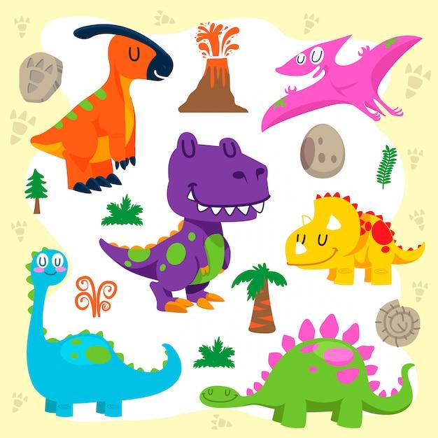 Conjunto de vetores de dinossauros fofos Vetor Premium