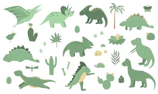 Conjunto de vetores de dinossauros verdes fofos com palmeiras, cactos, pedras, pegadas, ossos para crianças. Vetor Premium