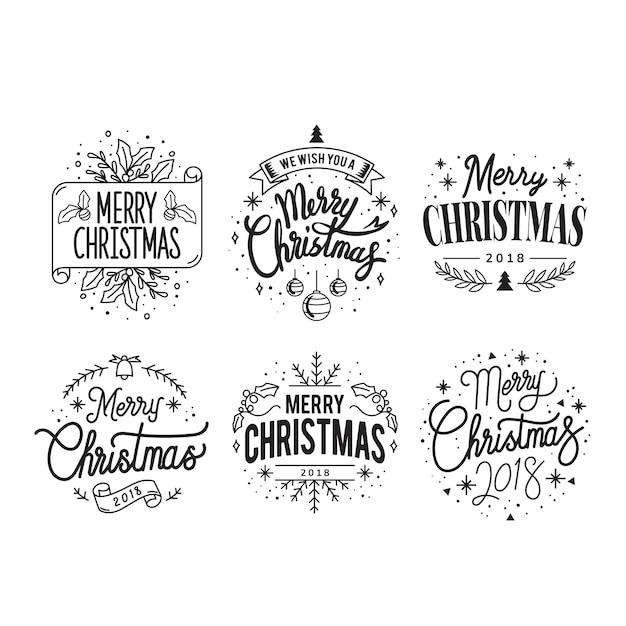 Conjunto de vetores de distintivo de saudação de natal Vetor grátis
